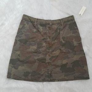 NWT Anthropologie Button front Camo Mini Skirt